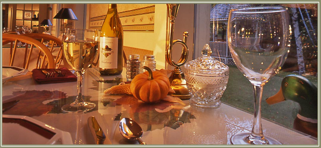 Dining room at Notchland Inn with fall centerpiece