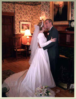 Bridal couple in Notchland Inn's music room