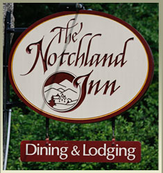 Sign for Notchland Inn at entrance